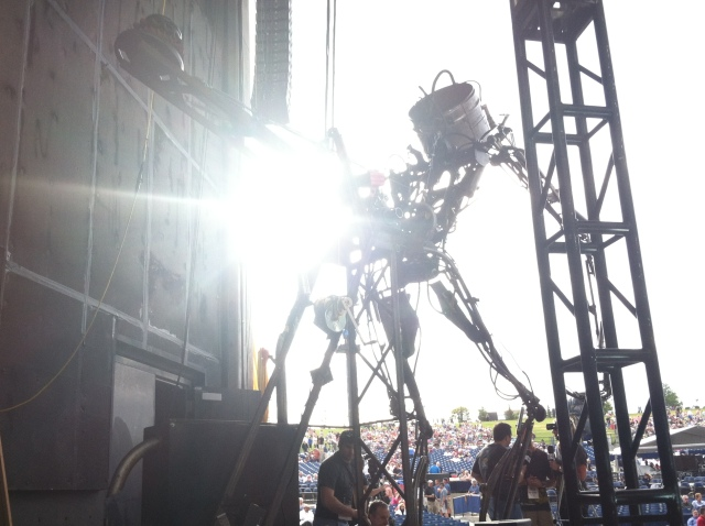 One of the collosal robots built for Man in the Moon, Mercury One's steampunk-inspired history dubstep extravaganza.