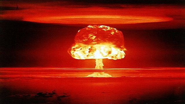 """""""No!"""" the narrator pleads just as the entire stage erupts in nuclear fire."""